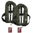2er-Set 12skipper Automatik-Rettungsweste 165N ISO mit Harness, olive inkl. 2 Wartungskits